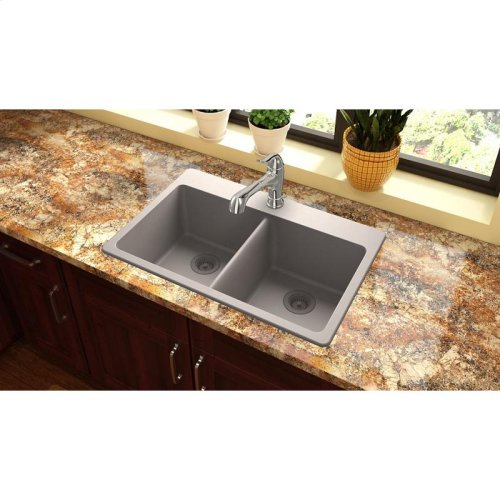 "Elkay Quartz Classic 33"" x 22"" x 9-1/2"", Equal Double Bowl Drop-in Sink, Greige"