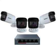 1080p Outdoor Security Cloud System with 5-Port PoE Switch (4 Cameras)