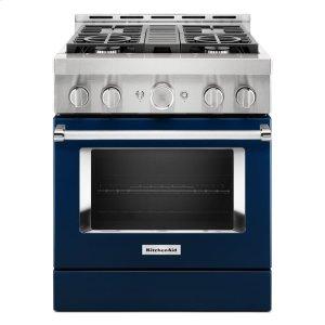 KitchenAidKitchenAid® 30'' Smart Commercial-Style Gas Range with 4 Burners - Ink Blue