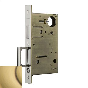 Satin Brass and Brown 8602 Pocket Door Lock with Pull