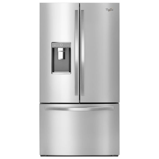 monochromatic stainless steel. Whirlpool® 36-inch Wide French Door Refrigerator With Infinity Slide Shelf - 32 Cu Monochromatic Stainless Steel O