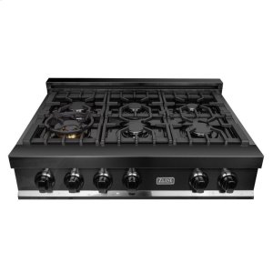 Zline KitchenZLINE 36 in. Porcelain Rangetop in Black Stainless with 6 Gas Burners (RTB-36)