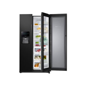 24.7 cu. ft. Side-by-Side Food ShowCase Refrigerator with Metal Cooling - BLACK