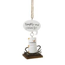 "Toasted S'mores ""Naughty-and I Know It!"" Ornament."