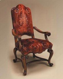 Hand Carved Frontier Finished Armchair, Rust Patterned Velvet Upholstery
