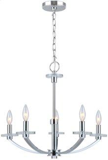 5-lite Chandelier Lamp, Chrome, E12 Type B 60wx5