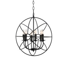 6-Light Loft Orb Chandelier in Black Finish