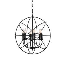 6-Light Loft Orb Chandelier in Black Finish