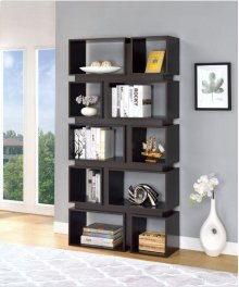 - Five tier, ten shelf bookcase finished in cappuccino- Constructed with MDF, particle board, and engineered veneer- Also available in white (#801447)
