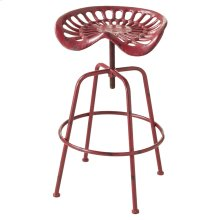 Adjustable Distressed Red Tractor Stool.