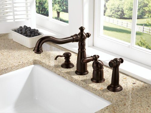 Venetian Bronze Single Handle Kitchen Faucet with Spray