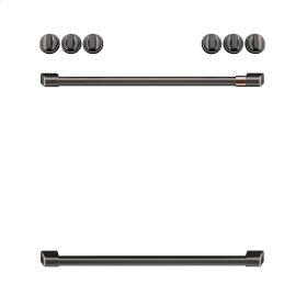 Café Front Control Induction Knobs and Handles - Brushed Black