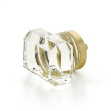"City Lights, Rectangular Glass Knob, Satin Brass, 1-3/4"" dia"