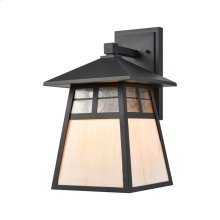 Cottage 1-Light Sconce in Matte Black with Antique White Art Glass and Clear Textured Glass