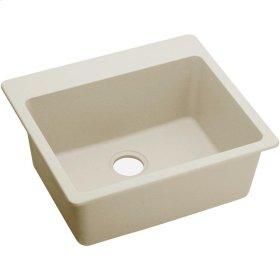 """Elkay Quartz Luxe 25"""" x 22"""" x 9-1/2"""", Single Bowl Top Mount Sink, Parchment"""
