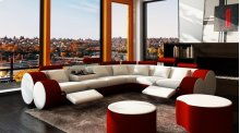 Divani Casa 3087 - Modern White and Red Bonded Leather Sectional Sofa & Coffee Table