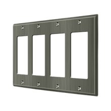 Switch Plate, Quadruple Rocker - Antique Nickel