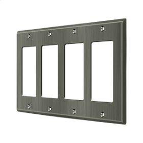 Switch Plate, Quadruple Rocker - Antique Nickel
