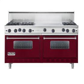 """Burgundy 60"""" Open Burner Commercial Depth Range - VGRC (60"""" wide, six burners 24"""" wide griddle/simmer plate)"""