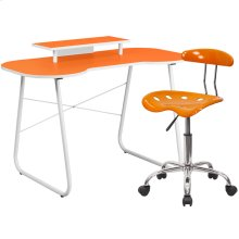 Orange Computer Desk with Monitor Platform and Tractor Chair
