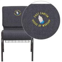 Embroidered HERCULES Series 21'' Wide Dark Gray Fabric Church Chair with 4'' Thick Seat, Book Rack - Silver Vein Frame