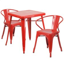23.75'' Square Red Metal Indoor-Outdoor Table Set with 2 Arm Chairs