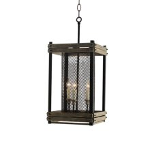 3 Light Chandelier in Wood and Rustic Brown Finish