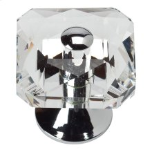 Crystal Large Square Knob 1 1/2 Inch - Polished Chrome