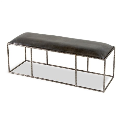Ethan Leather Bench - Grey
