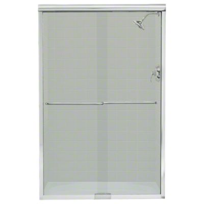 """Finesse™ Sliding Shower Door with Quick Install™ Mounting System - Height 70-5/16"""", Max. Opening 45-1/2"""" - Silver with Smooth/Clear Glass Texture"""