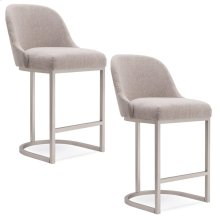 Barrelback Oatmeal Linen Counter Stool with Pewter Metal Base #10132 PW/OL - Set of 2