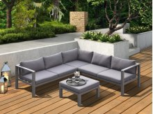 Renava Coastal Outdoor Grey Sectional Sofa & Coffee Table Set