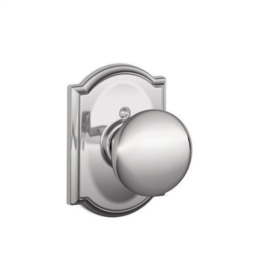Plymouth Knob with Camelot trim Non-turning Lock - Bright Chrome