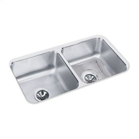 """Elkay Lustertone Classic Stainless Steel 31-3/4"""" x 16-1/2"""" x 7-1/2"""", Equal Double Bowl Undermount Sink Kit"""