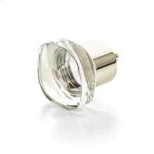 "City Lights, Soft Square Glass Knob, Polished Nickel, 1-1/4"" dia"