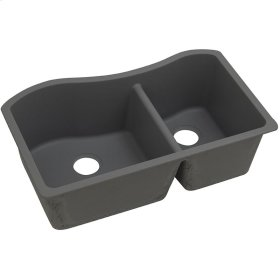 "Elkay Quartz Classic 32-1/2"" x 20"" x 10"", 60/40 Double Bowl Undermount Sink, Dusk Gray"