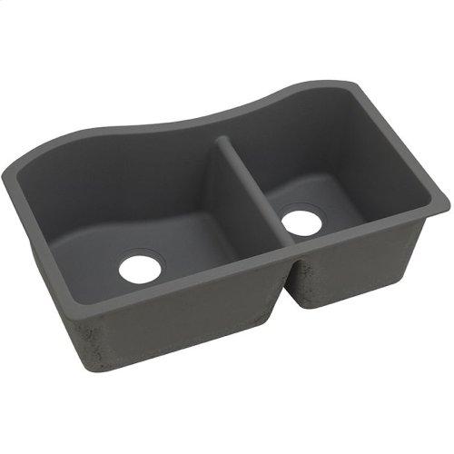 """Elkay Quartz Classic 32-1/2"""" x 20"""" x 10"""", 60/40 Double Bowl Undermount Sink, Dusk Gray"""