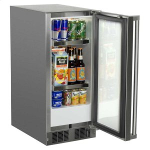 "Marvel15"" Outdoor Refrigerator - Marvel Refrigeration - Solid Stainless Steel Door with Lock - Right Hinge"