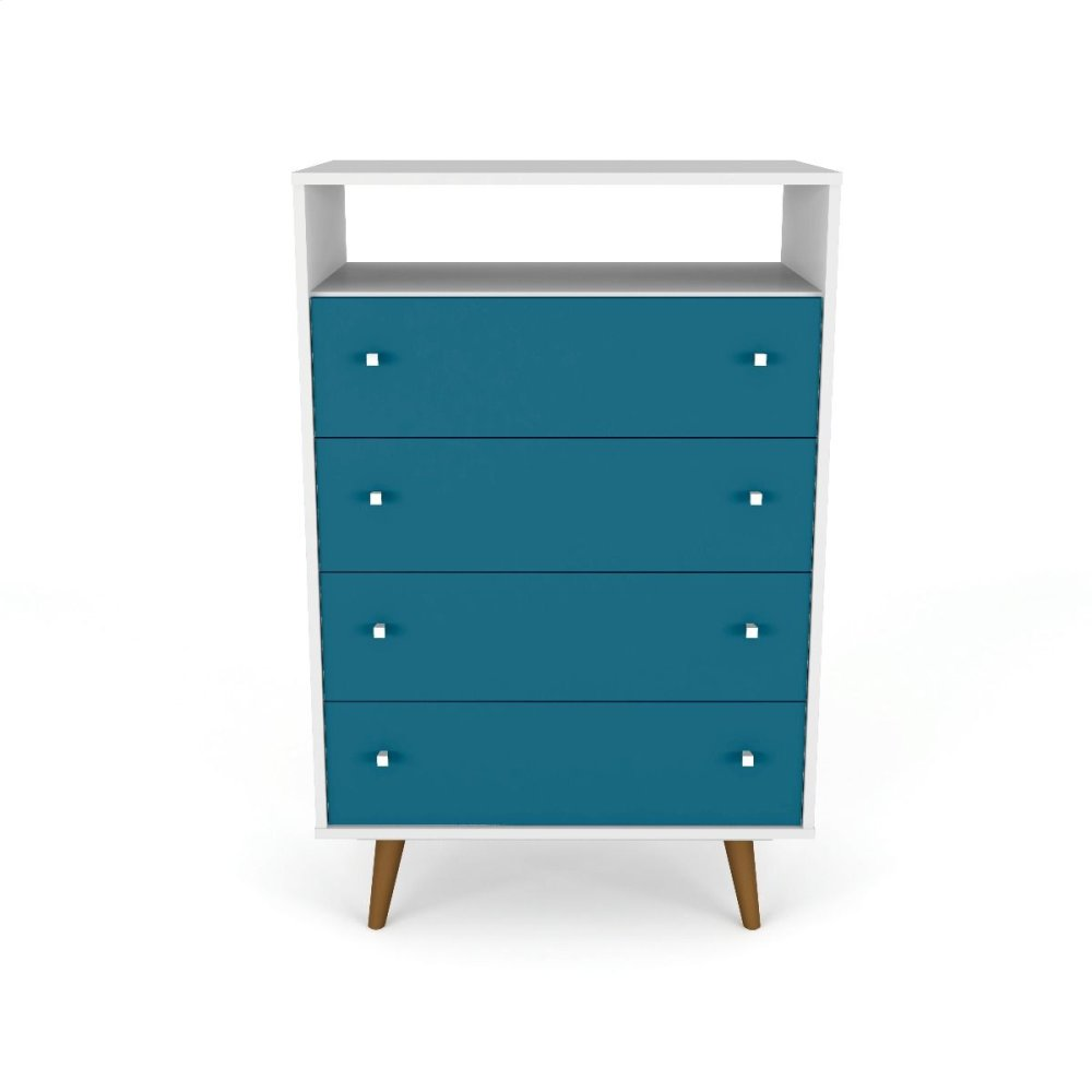 Liberty 4-Drawer Dresser Chest in White and Aqua Blue