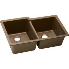 """Elkay Quartz Classic 33"""" x 20-1/2"""" x 9-1/2"""", Offset Double Bowl Undermount Sink, Mocha"""