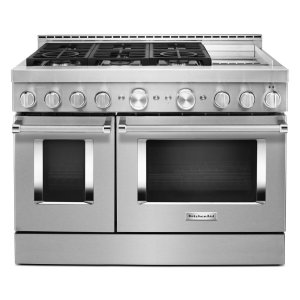 KitchenAid® 48'' Smart Commercial-Style Gas Range with Griddle - Heritage Stainless Steel - HERITAGE STAINLESS STEEL