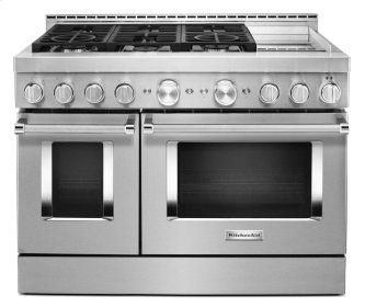 KitchenAid™ 48'' Smart Commercial-Style Gas Range with Griddle - Stainless Steel