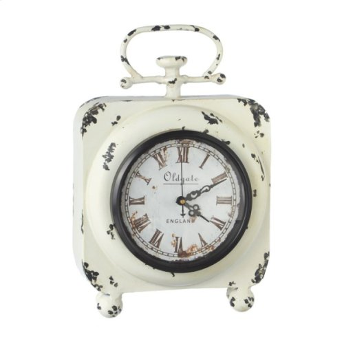 Distressed Ivory Desk Clock