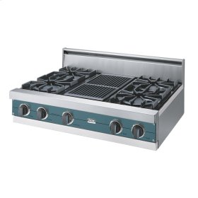 "Iridescent Blue 36"" Open Burner Rangetop - VGRT (36"" wide, four burners 12"" wide char-grill)"