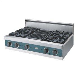 "Iridescent Blue 36"" Open Burner Rangetop - VGRT (36"" wide, four burners 12"" wide char-grill)"