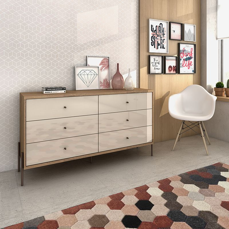 """Joy 59"""" Wide Double Dresser with 6 Full Extension Drawers in Off White"""