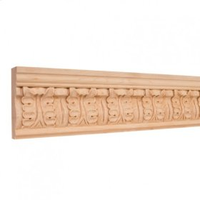 "3-3/4"" x 1"" Hand Carved Frieze Moulding Species: Alder Priced by the linear foot and sold in 8' sticks in cartons of 80'."