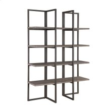 "Emerald Home Atari Bookshelf 48"" Metal Frame Antique Grey Shelves Ac390-48"