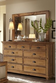 Dresser \u0026 Mirror - Distressed Pine Finish