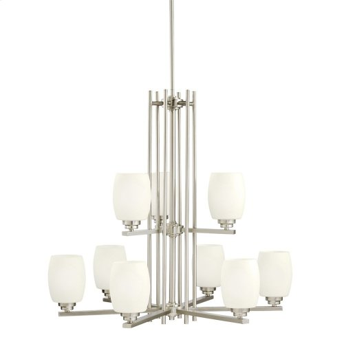 Eileen 9 Light Chandelier with LED Bulbs Brushed Nickel